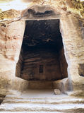 Interior of big antique chamber in Little Petra Stock Photography
