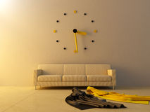 Interior - Big clock on sofa Stock Images