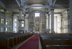 The interior is the biggest wooden Church. Kerimaki, Finland Stock Images