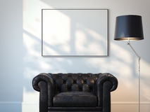 Interior with black armchair and white picture. 3d rendering Stock Photo