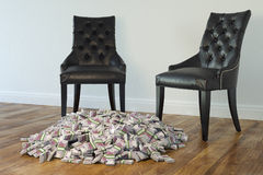 Interior With Black Chairs And Money Stock Photo