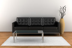 Interior with black leather sofa Stock Photos