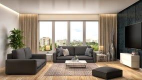 Interior with black sofa. 3d illustration.  Royalty Free Stock Image
