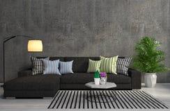 Interior with black sofa. 3d illustration Stock Photos