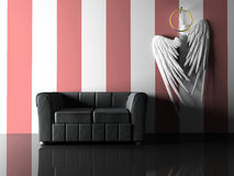 Interior with black sofa and pair wings. 3D royalty free illustration