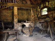 Interior of blacksmith's workshop Royalty Free Stock Photo
