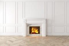 Interior blanco clásico moderno con la chimenea, los paneles de pared, piso de madera ilustración del vector