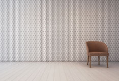 Interior blanco con el modelo y la butaca de la decoración de la pared Imagen de archivo libre de regalías