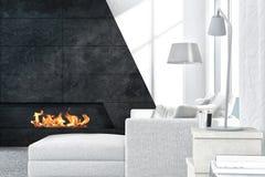 Interior blanco contemporáneo de la sala de estar con la chimenea Imagenes de archivo