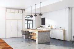 Interior blanco de la cocina del desván contemporáneo Imagen de archivo
