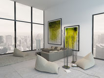 Interior blanco de la sala de estar con la decoración verde vibrante Fotos de archivo libres de regalías