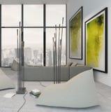 Interior blanco de la sala de estar con la decoración verde vibrante Fotografía de archivo
