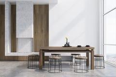 Interior blanco del comedor, chimenea libre illustration