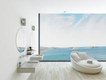 Interior blanco del cuarto de baño con el lavabo doble Fotografía de archivo libre de regalías
