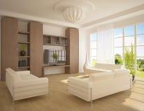 Interior blanco del diseño moderno Fotografía de archivo libre de regalías