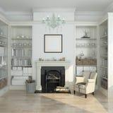 Interior blanco del invierno, chimenea, libros 3d rinden Imagen de archivo
