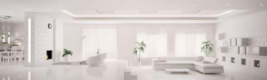 Interior blanco del panorama 3d del apartamento Fotografía de archivo libre de regalías