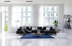 Interior blanco monocromático contemporáneo de la sala de estar Imágenes de archivo libres de regalías