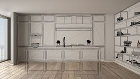 Interior blanco vacío con el piso de entarimado, proyecto de diseño de encargo de la arquitectura, bosquejo negro de la tinta, mo libre illustration