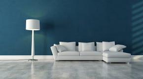 Interior blanco y azul libre illustration