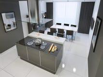 Interior blanco y negro de la cocina de Techno con el suelo blanco Imagen de archivo libre de regalías