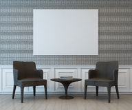 Interior with blank art frame on wall of living area. 3d rendering of room with chair Royalty Free Stock Images
