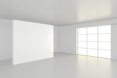 Interior blank billboards standing on floor in white room. 3d rendering Stock Images