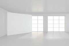 Interior blank billboards standing on floor in white room. 3d rendering.  Royalty Free Stock Photo