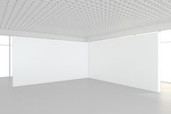 Interior blank billboards standing on floor in white room. 3d rendering Royalty Free Stock Photos