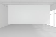 Interior blank billboards standing on floor in white room. 3d rendering Royalty Free Stock Photo