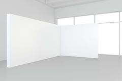 Interior blank billboards standing on floor in white room. 3d rendering.  Royalty Free Stock Images