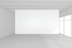 Interior blank billboards standing on floor in white room. 3d rendering.  Stock Image