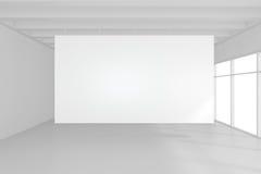 Interior blank billboards standing on floor in white room. 3d rendering Stock Image