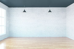 Interior with blank brick wall. Wooden floor and window. Mock up, 3D Redering Stock Photo