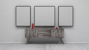 Interior with blank picture frames 3d render Royalty Free Stock Image
