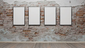 Interior with blank picture frames 3d render. Ing Royalty Free Stock Photography