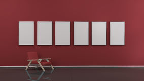 Interior with blank picture frames 3d render Royalty Free Stock Photos
