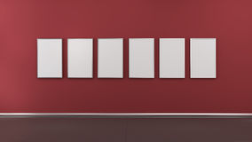 Interior with blank picture frames 3d render Royalty Free Stock Images