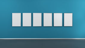 Interior with blank picture frames 3d render Royalty Free Stock Photo
