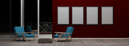 Interior with blank picture frames 3d rendering Royalty Free Stock Photography