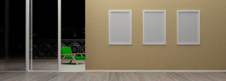 Interior with blank picture frames 3d rendering Royalty Free Stock Images