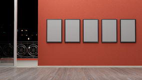 Interior with blank picture frames 3d rendering Stock Photos