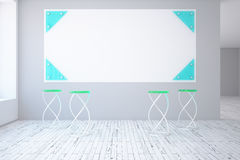 Interior with blank poster. Front view of contemporary interior with white and blue poster, modern green chairs, wooden floor and grey concrete wall. Mock up, 3D Royalty Free Stock Photos