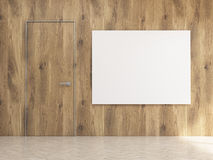 Interior with blank whiteboard. Interior design with wooden wall and floor, door and blank whiteboard. Mock up, 3D Rendering Royalty Free Stock Photos