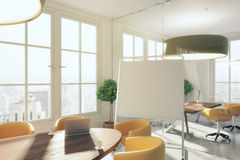Interior with blank whiteboard. Modern meeting interior with blank whiteboard. 3D Rendering Stock Image
