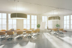Interior with blank whiteboard. Modern meeting interior with blank whiteboard. 3D Rendering Royalty Free Stock Photography