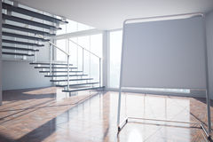 Interior with blank whiteboard. Side view of empty interior with blank whiteboard, staircase, city view and sunlight. Mock up, 3D Rendering Stock Images