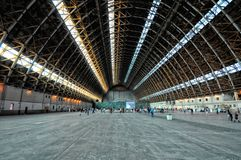 Interior of Blimp Hangar #1 at the former Marine Corps Air Station Tustin. TUSTIN, CALIFORNIA: APRIL 15, 2013: Interior of Blimp Hangar #1 at the former Marine royalty free stock photography