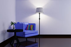 Interior with blue armchair and lamp. 3d illustration Stock Images