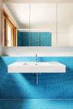 Interior, blue bathroom Stock Images
